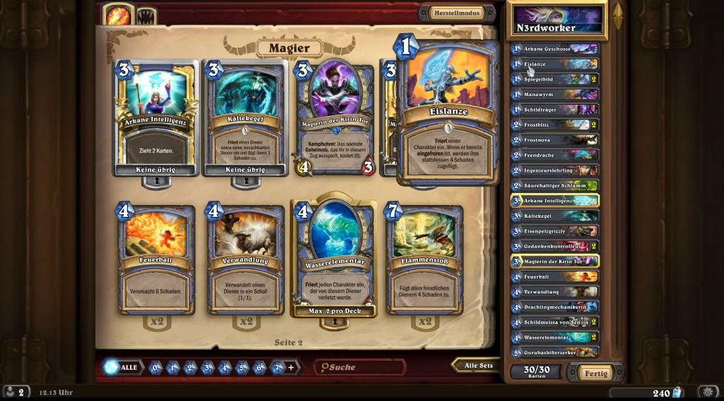 Hearthstone-Magierkarten